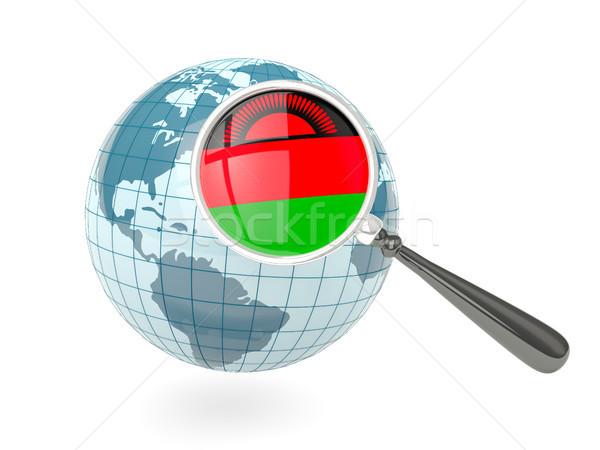 Vlag Malawi Blauw wereldbol geïsoleerd Stockfoto © MikhailMishchenko
