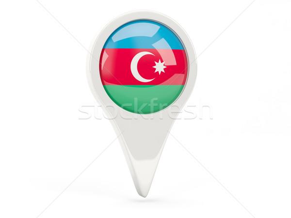 Bandera icono Azerbaiyán aislado blanco mapa Foto stock © MikhailMishchenko