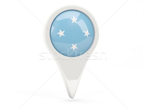 Bandeira ícone Micronésia isolado branco mapa Foto stock © MikhailMishchenko