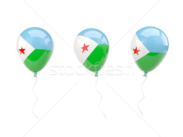 Powietrza balony banderą Dżibuti odizolowany biały Zdjęcia stock © MikhailMishchenko