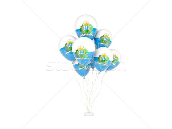 Flying шаров флаг Сан-Марино изолированный белый Сток-фото © MikhailMishchenko