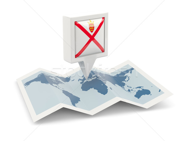 Square pin with flag of jersey on the map Stock photo © MikhailMishchenko