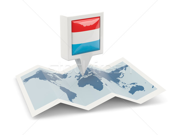 Square pin with flag of luxembourg on the map Stock photo © MikhailMishchenko