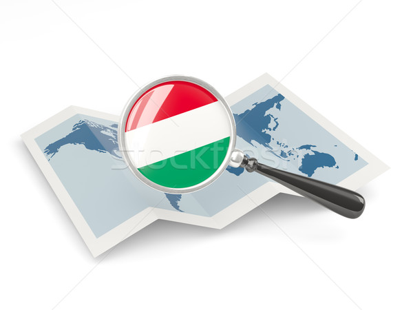 Magnified flag of hungary with map Stock photo © MikhailMishchenko