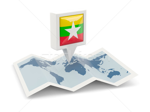 Square pin with flag of myanmar on the map Stock photo © MikhailMishchenko