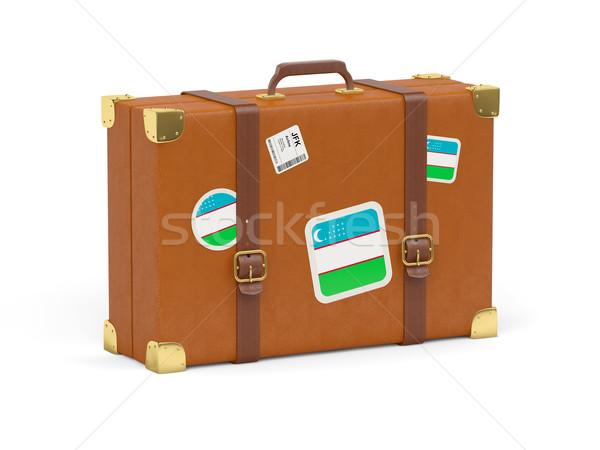 Bőrönd zászló Üzbegisztán utazás izolált fehér Stock fotó © MikhailMishchenko