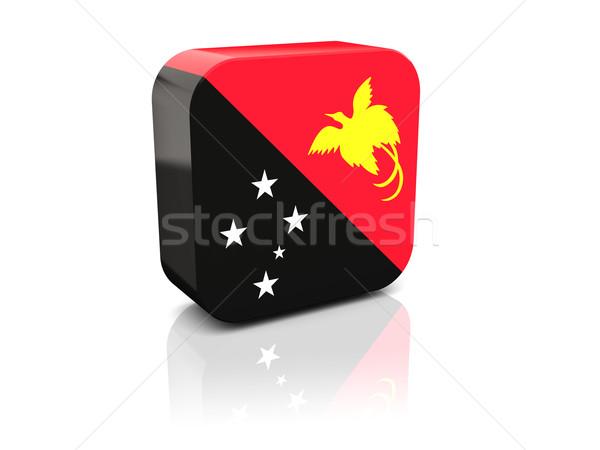 квадратный икона флаг Папуа-Новая Гвинея отражение белый Сток-фото © MikhailMishchenko