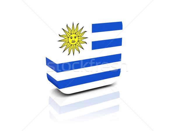 квадратный икона флаг Уругвай отражение белый Сток-фото © MikhailMishchenko