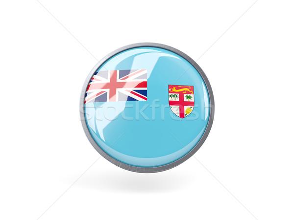 Ikon zászló Fidzsi-szigetek fém keret utazás Stock fotó © MikhailMishchenko
