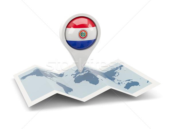Round pin with flag of paraguay Stock photo © MikhailMishchenko