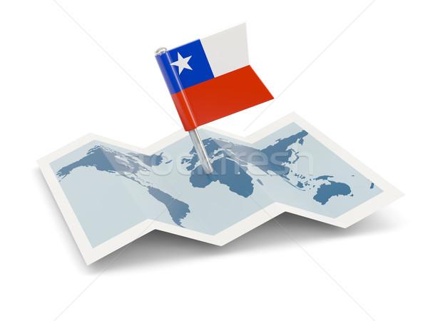Harita bayrak Şili yalıtılmış beyaz Stok fotoğraf © MikhailMishchenko