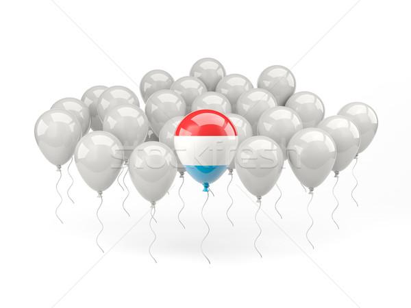 Powietrza balony banderą Luksemburg odizolowany biały Zdjęcia stock © MikhailMishchenko