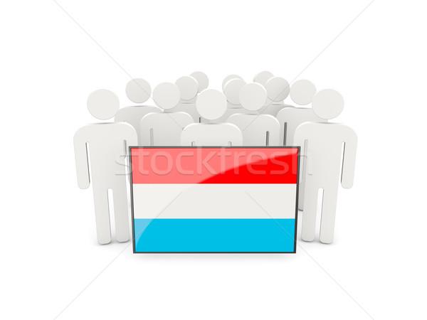 Mensen vlag Luxemburg geïsoleerd witte menigte Stockfoto © MikhailMishchenko
