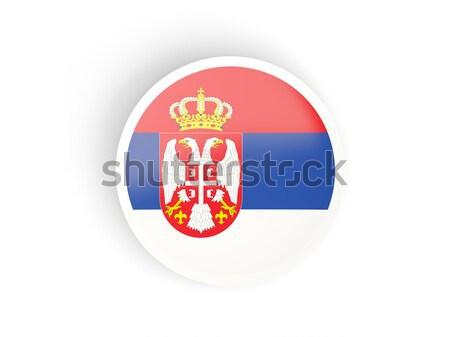 Przycisk banderą Serbia metal ramki podróży Zdjęcia stock © MikhailMishchenko