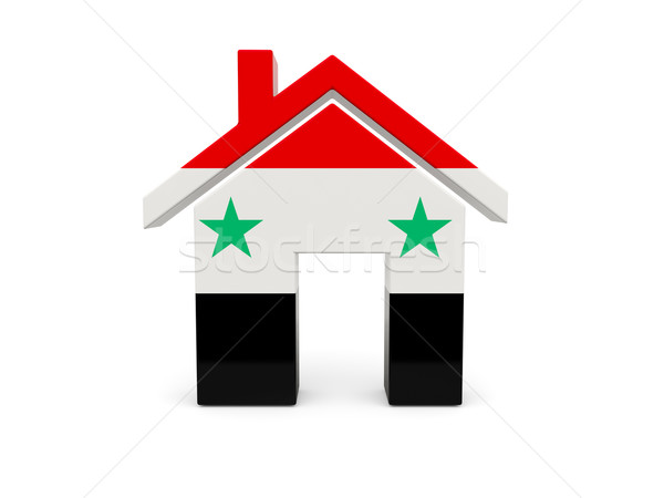 Casa bandeira Síria isolado branco país Foto stock © MikhailMishchenko