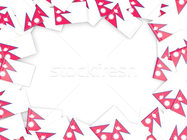 Ramki banderą Nepal odizolowany biały Zdjęcia stock © MikhailMishchenko