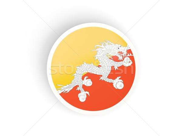 Sticker vlag Bhutan geïsoleerd witte reizen Stockfoto © MikhailMishchenko