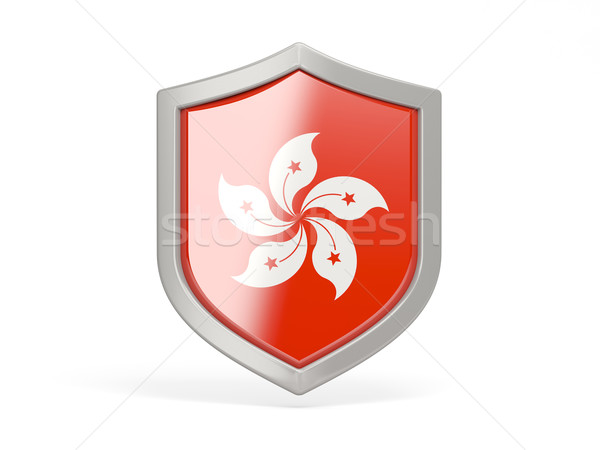 Shield icon with flag of hong kong Stock photo © MikhailMishchenko
