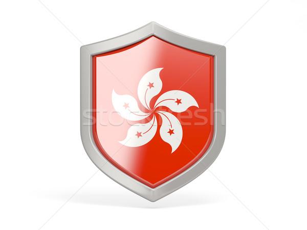 Schild icon vlag Hong Kong geïsoleerd witte Stockfoto © MikhailMishchenko