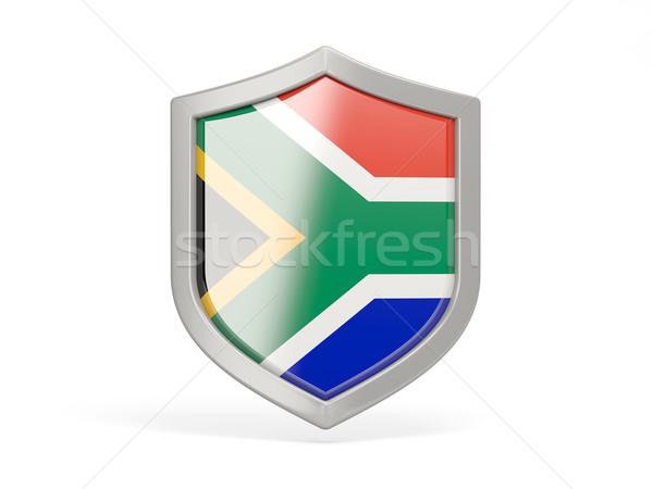 Schild icon vlag South Africa geïsoleerd witte Stockfoto © MikhailMishchenko