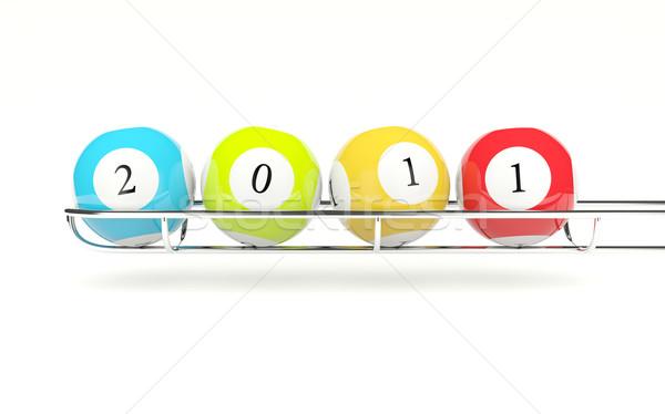 2011 лотерея изолированный белый зеленый Сток-фото © MikhailMishchenko