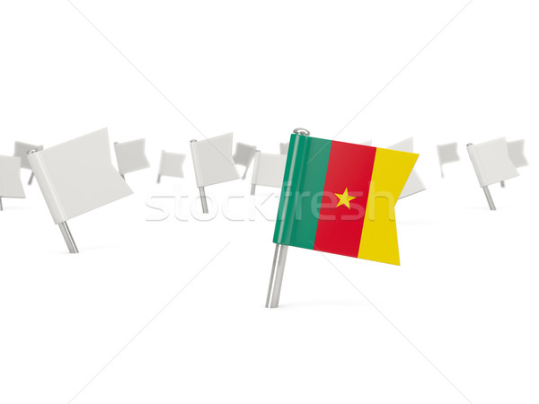 Praça pin bandeira Camarões isolado branco Foto stock © MikhailMishchenko
