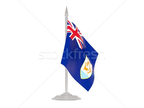 Banderą maszt 3d odizolowany biały Zdjęcia stock © MikhailMishchenko