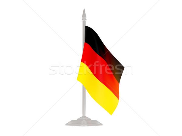 Banderą Niemcy maszt 3d odizolowany biały Zdjęcia stock © MikhailMishchenko