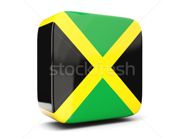 Square icon with flag of jamaica square. 3D illustration Stock photo © MikhailMishchenko