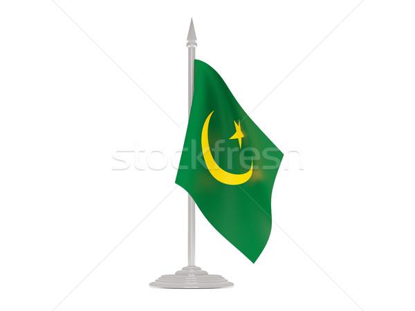 Banderą Mauretania maszt 3d odizolowany biały Zdjęcia stock © MikhailMishchenko