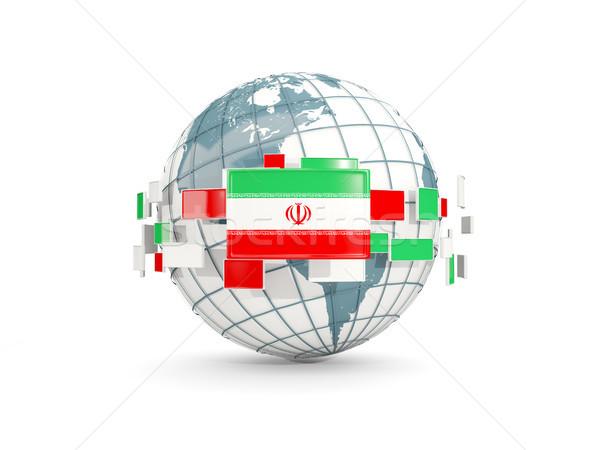 Globe with flag of iran isolated on white Stock photo © MikhailMishchenko