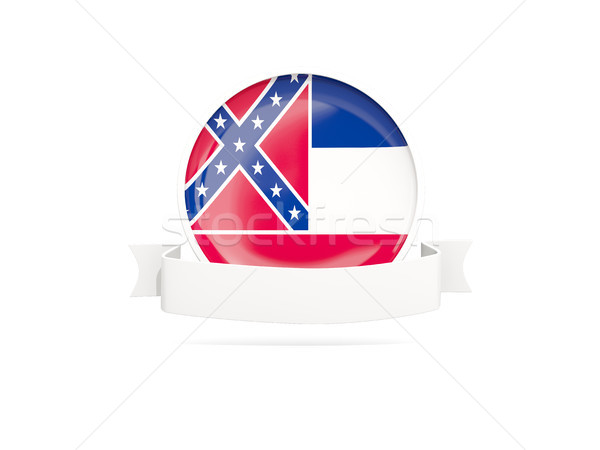 Flag of mississippi with banner, US state round icon Stock photo © MikhailMishchenko