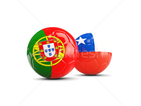 Portugal and Chile soccer balls isolated on white background Stock photo © MikhailMishchenko