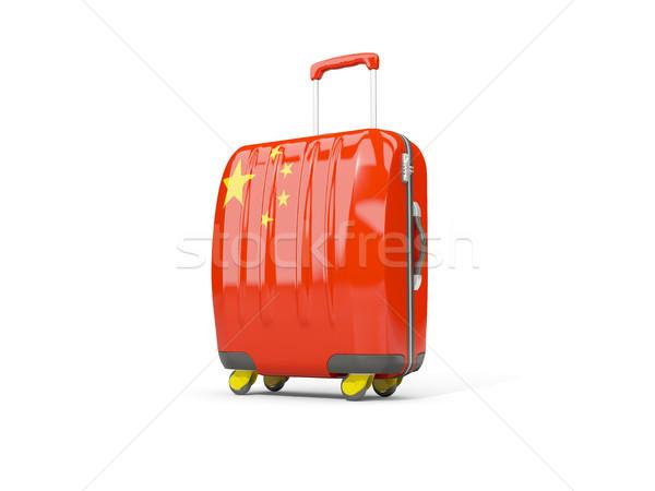 Luggage with flag of china. Suitcase isolated on white Stock photo © MikhailMishchenko