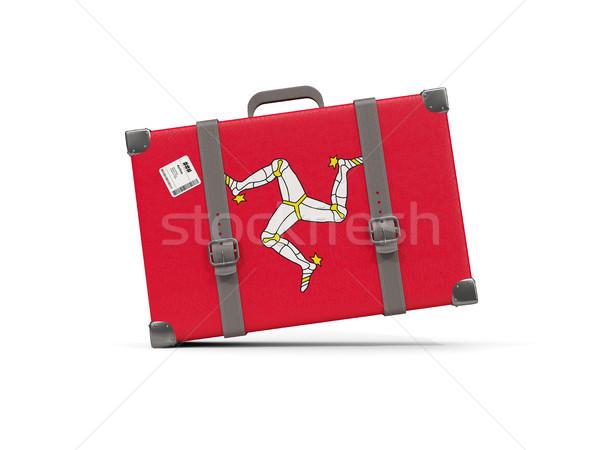 Luggage with flag of isle of man. Suitcase isolated on white Stock photo © MikhailMishchenko