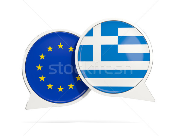 Chat bubbles of EU and Greece isolated on white Stock photo © MikhailMishchenko