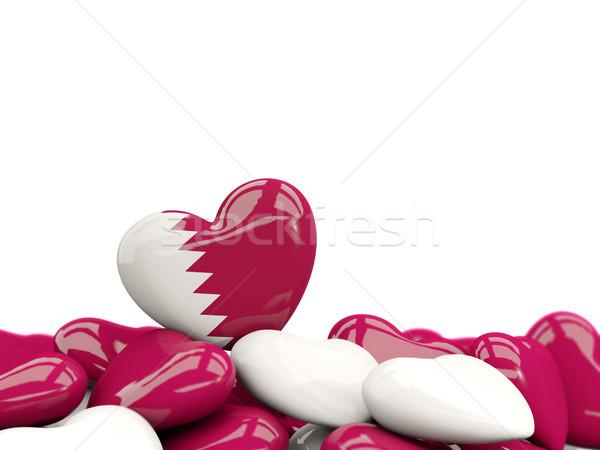 Kalp bayrak Katar üst kalpler yalıtılmış Stok fotoğraf © MikhailMishchenko