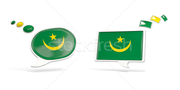 Two chat icons with flag of mauritania Stock photo © MikhailMishchenko