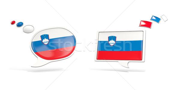 Due chat icone bandiera Slovenia piazza Foto d'archivio © MikhailMishchenko