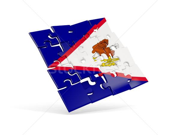 Quebra-cabeça bandeira Samoa Americana isolado branco ilustração 3d Foto stock © MikhailMishchenko
