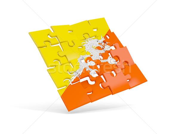 Puzzel vlag Bhutan geïsoleerd witte 3d illustration Stockfoto © MikhailMishchenko