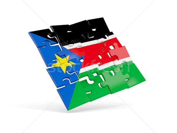 Puzzle zászló dél Szudán izolált fehér Stock fotó © MikhailMishchenko