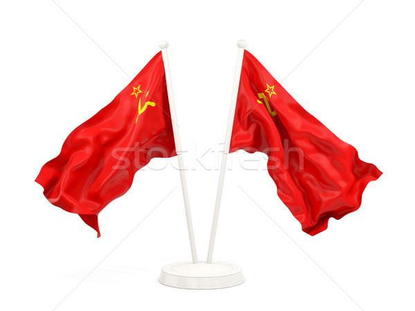 Iki bayraklar sscb yalıtılmış beyaz Stok fotoğraf © MikhailMishchenko
