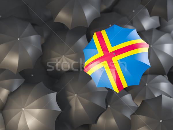 Umbrella with flag of aland islands Stock photo © MikhailMishchenko