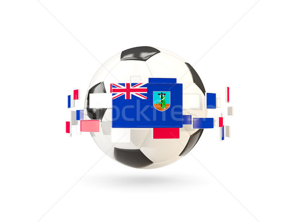Soccer ball with line of flags. Flag of montserrat Stock photo © MikhailMishchenko