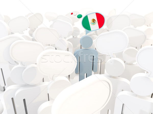 Man with flag of mexico in a crowd Stock photo © MikhailMishchenko