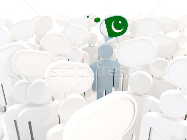 Adam bayrak Pakistan kalabalık 3d illustration imzalamak Stok fotoğraf © MikhailMishchenko