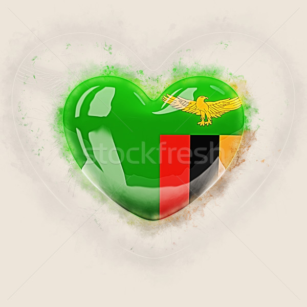 сердце флаг Замбия Гранж 3d иллюстрации стране Сток-фото © MikhailMishchenko