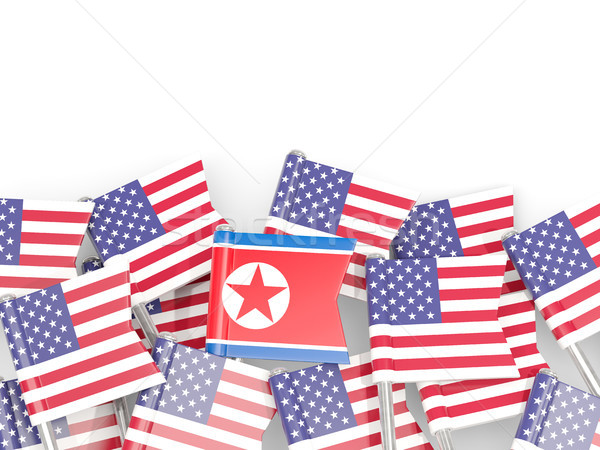 Flag pins of USA and North Korea Stock photo © MikhailMishchenko
