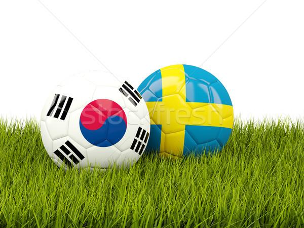 Coréia do Sul vs Suécia futebol bandeiras grama verde Foto stock © MikhailMishchenko